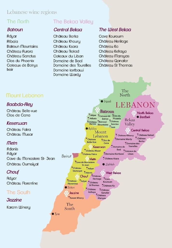 Libanon Weine Regionen